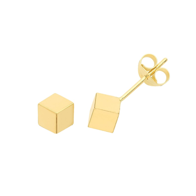 Pair of 9ct Yellow Gold Plain 5mm Hollow 3D Cube Stud Earrings