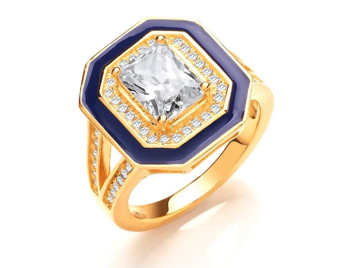 Ladies Georgian Cobalt Blue Enamel Yellow Gold on 925 Silver Emerald Cut Cz Signet Ring