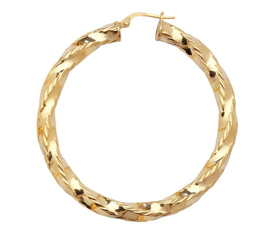 Pair of 9ct Yellow Gold Hollow 65mm Diameter Sleeper Hoop Earrings Hallmarked