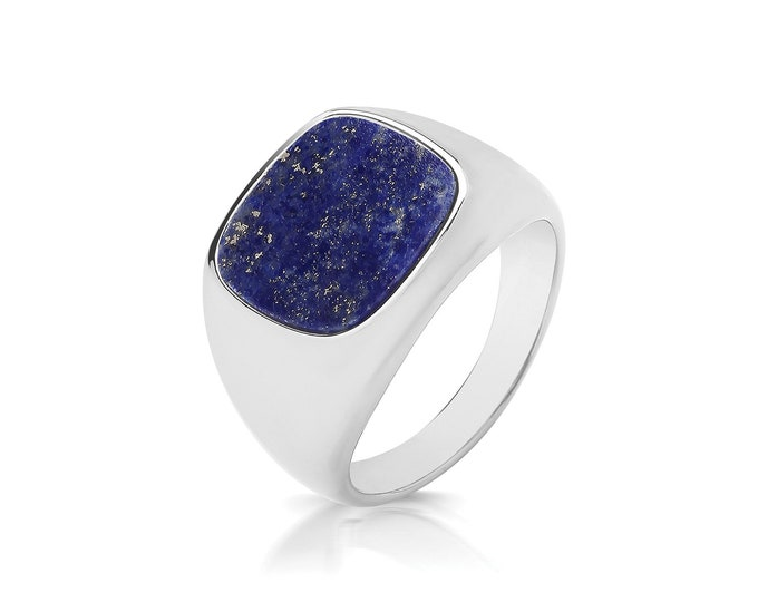 925 Sterling Silver 12x11.5mm Cushion Cut Real Blue Lapis Lazuli Signet Ring With Plain Sides