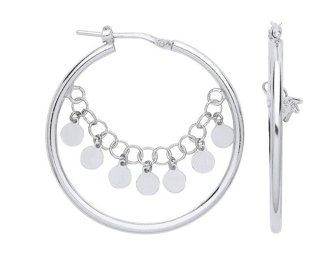 925 Sterling Silver 34mm Fancy Hoop with Coin Chain Earrings
