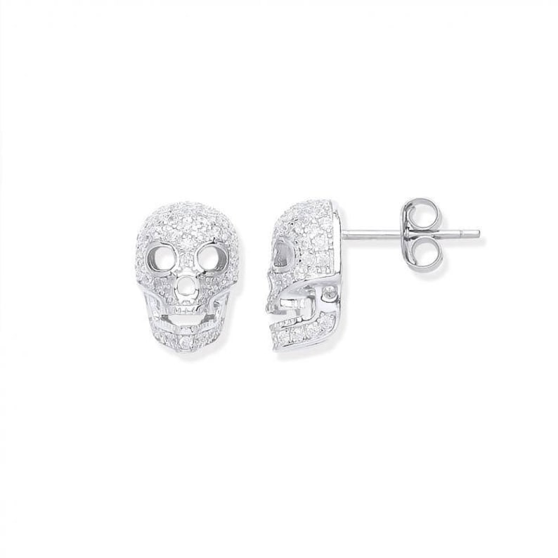 7b064ce71 925 Sterling Silver & Micro Pave Cz Skull Stud Earrings | Etsy