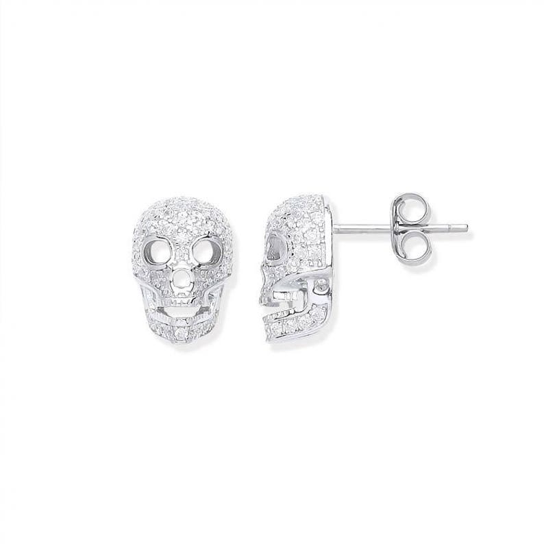 4be61dcfd 925 Sterling Silver & Micro Pave Cz Skull Stud Earrings | Etsy