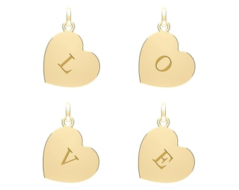 9ct Yellow Gold Small 12mm Heart Engraved Initial Tag Charm Pendant - Solid 9K Gold - Initials A to Z