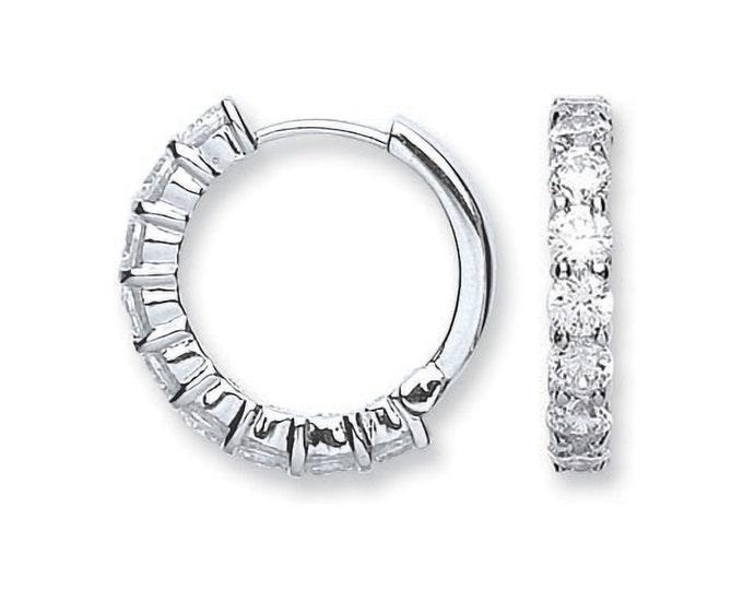 925 Sterling Silver 15mm Diameter Claw Set Cz Hinged Huggies Hoop Earrings