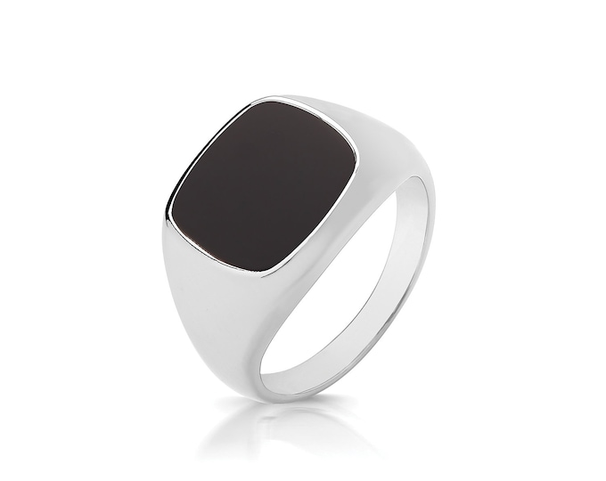 925 Sterling Silver 12x10mm Cushion Cut Black Onyx Signet Ring With Plain Sides