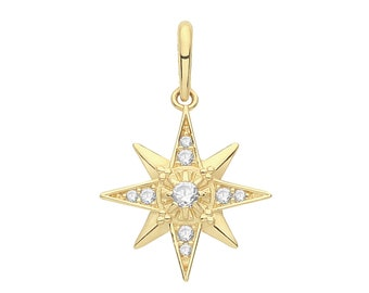 9ct Yellow Gold Cz Cluster Set 12mm Eight Point Star Design Charm Pendant - Real 9K Gold