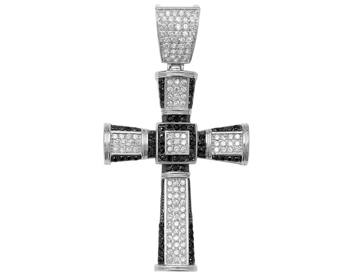 Large 925 Sterling Silver Pave Black Cz Cross Pendant 8x4cm Hallmarked