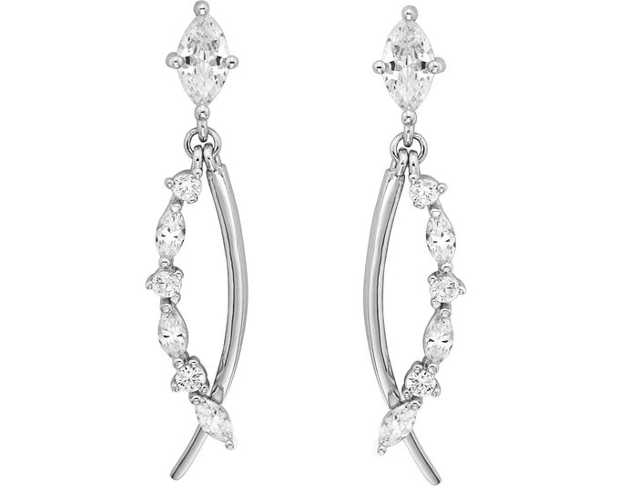 925 Sterling Silver 2.5cm Marquise Cut Cz Climber Drop Earrings