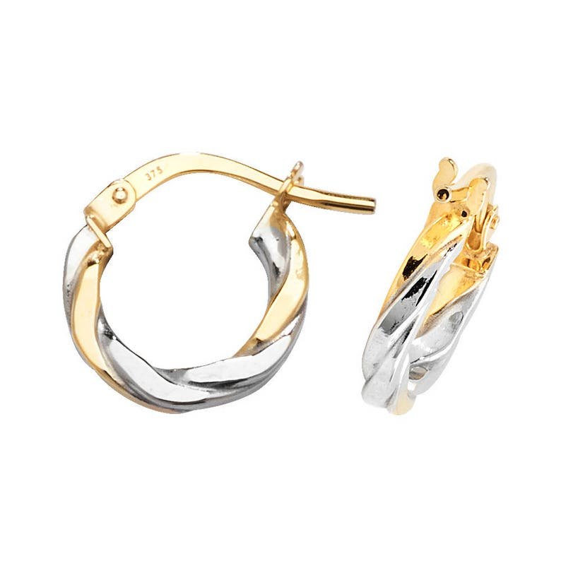 41d0dab4fda39 9ct 2 Colour Yellow & White Gold Flat Twisted Hoop Earrings