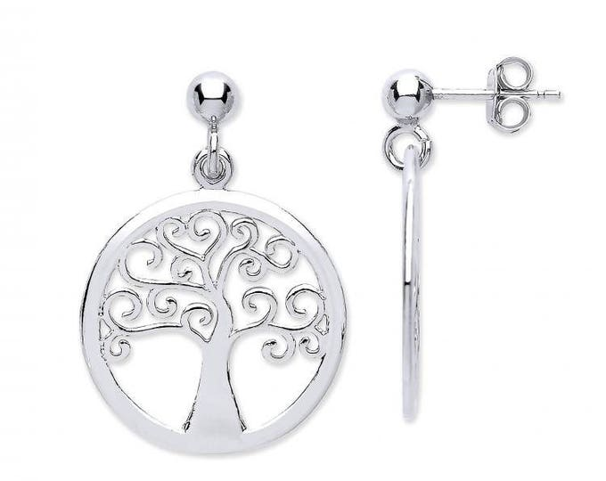 Sterling Silver Cut Out Design Tree of Life Round Disc Drop Earrings