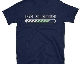 Level 30 Unlocked T Shirt Funny 30th Birthday Video Gaming Mens Tee
