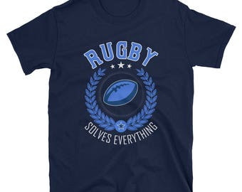 Rugby Solves Everything T-Shirt, Boys Rugby Shirt, Mens Rugby Shirt, Rugby Season, Rugby Player