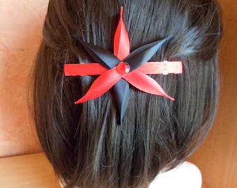French black and Red Ribbon flower hairclip