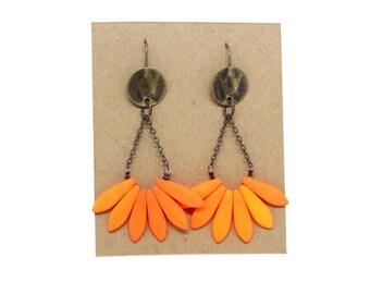 APACHE orange matte neon earrings