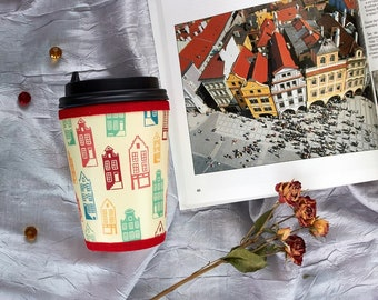 Travel Coffee cup sleeve Cup cover Coffee cup cozy Insulated cup sleeve Gift for architect Reusable coffee cup sleeve Dutch house Cupkeeper