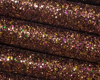 Premium Quality Chunky Glitter with Sequins Fabric Sheet Fairy Princess Pink and Coral