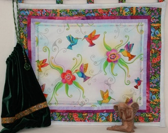 Hummingbirds in Blossoms Wall Hanging