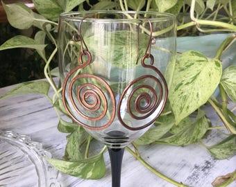 Swirl Hoop Copper Earrings