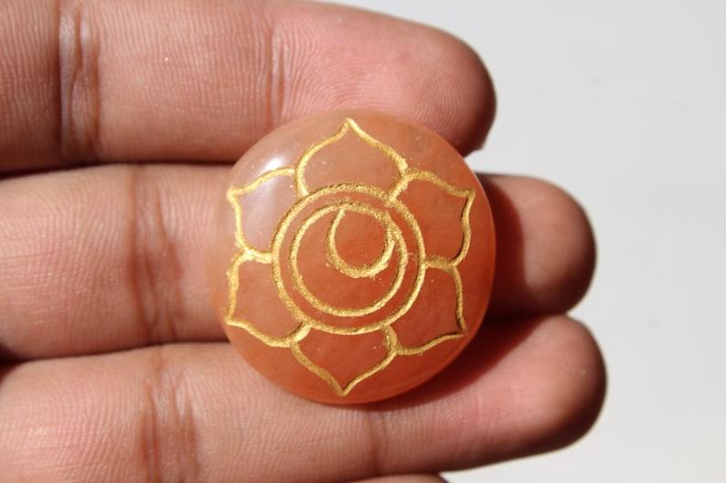 7 Chakra Healing Stones with Engraved Chakra Symbols 30 mm approx