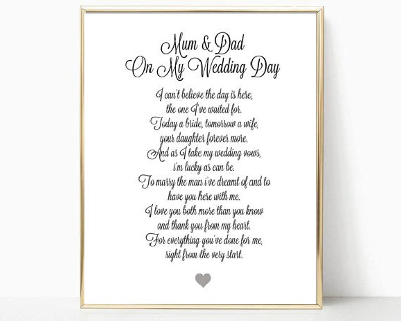 photograph relating to Lucky to Have a Dad Like You Printable titled Mothers and fathers of the Bride Printable Reward, Poem, Plaque, Term Artwork, Brides Mom and Dad Thank On your own, Wedding ceremony Working day Thank By yourself Presents, Keepsakes