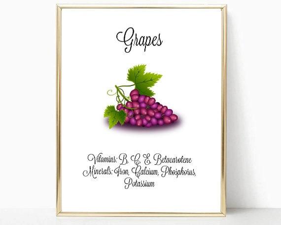 Grapes Print Kitchen Decor Grape Wall Art Instant Etsy