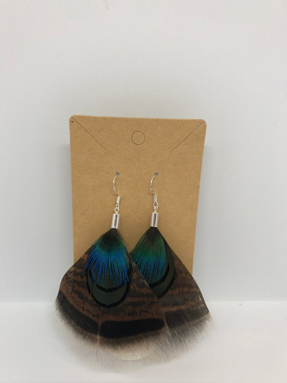 Turkey and Peacock Feather Earrings - FREE SHIPPING