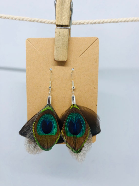 Peacock and Turkey Feather Earrings