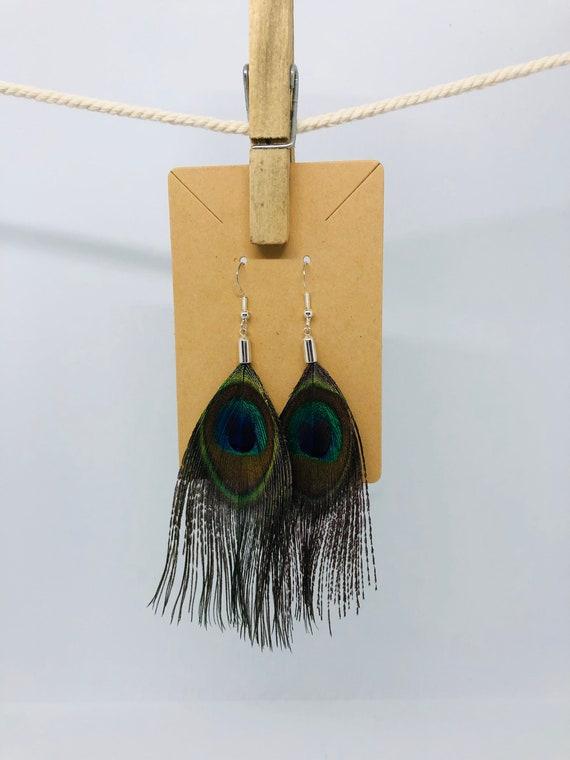 Medium Peacock Feather Earrings