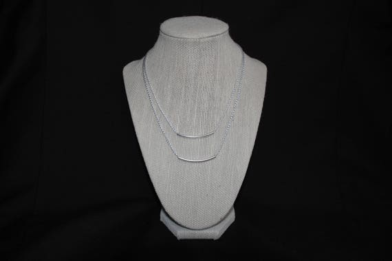 Layered Slim Necklace in Silver