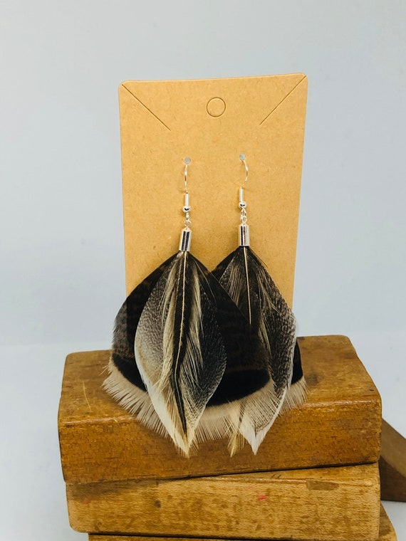 Turkey and Pheasant Feather Earrings