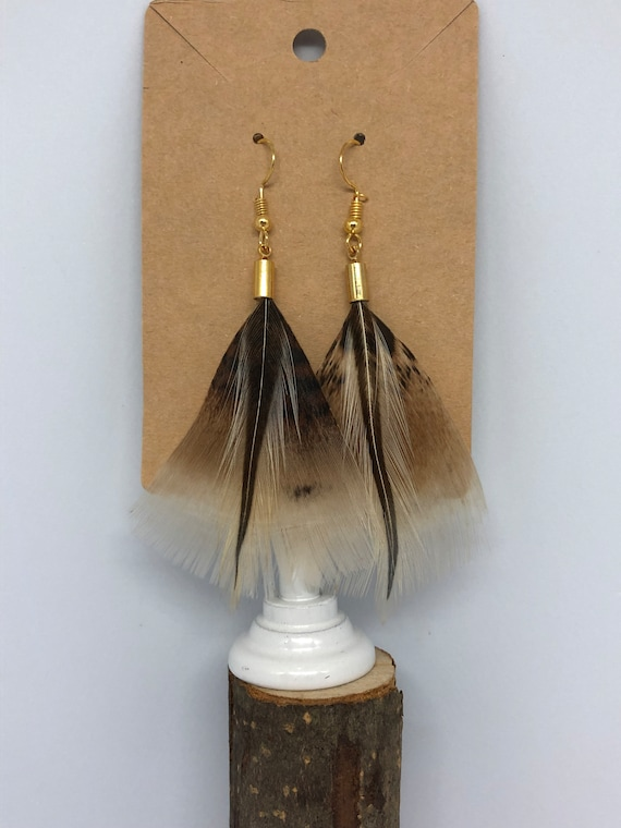 Tan Turkey Feather Earrings - FREE SHIPPING