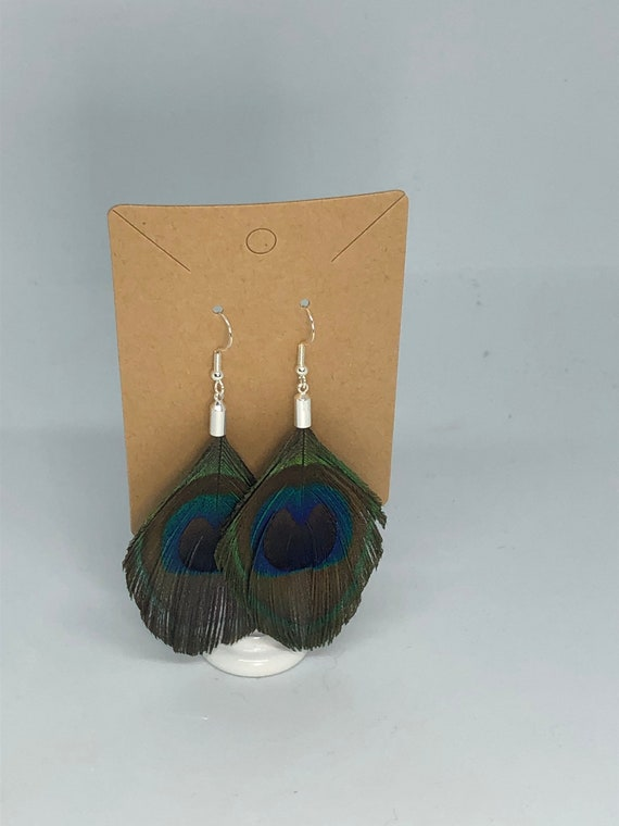 Trimmed, Peacock Feather Earrings