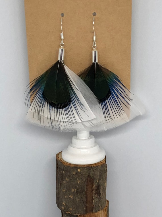 Pop! White Turkey Plumage Feather Earrings - FREE SHIPPING