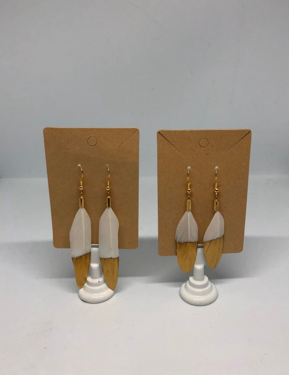 Simple Gold Dipped White Feather Earrings