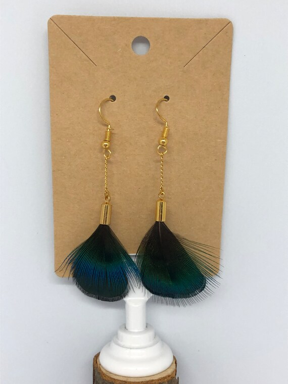 Peacock and Pheasant Feather Dangle Earrings - FREE SHIPPING