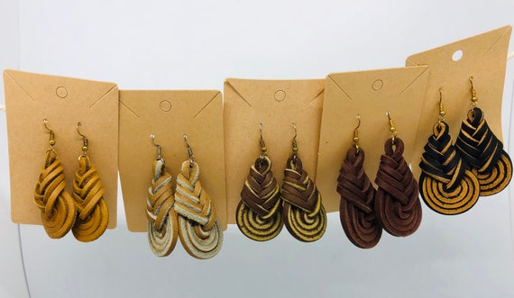 Pipa Earrings In Leather- Choose Your Color