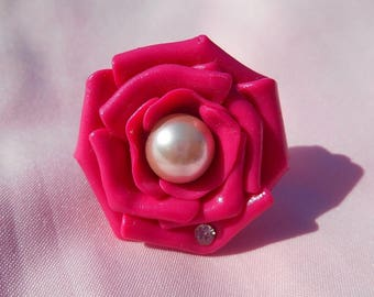 Pink rose Adjustable ring with Pearl and rhinestone