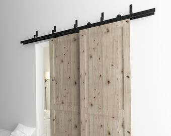 5-16FT Bypass Doors Sliding Barn Door Hardware Kit, T-Shape Z Style Bracket, Perfect for Garage, Closet, Interior and Exterior Use