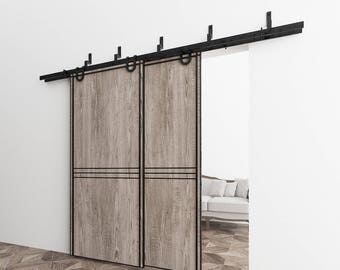5-16FT Bypass Doors Sliding Barn Door Hardware Kit, Horseshoe Design Z Style Bracket, Perfect for Garage, Closet, Interior and Exterior Use