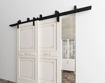 5-16FT Bypass Doors Sliding Barn Door Hardware Kit, Straight Design New Style Bracket, Perfect for Garage, Closet, Interior and Exterior Use