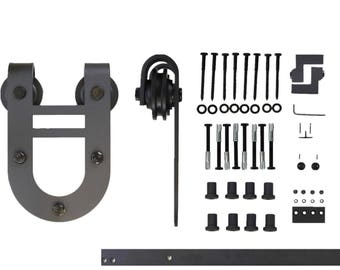 Single Door Horseshoe Design Sliding Barn Door Hardware Kit, 5FT-16FT, Great For Indoor and Outdoor Use, Quiet Rolling and Easy to Install.