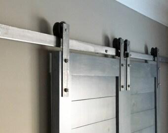 Raw Steel Double Sliding Barn Door Hardware Kit Single Interior Exterior  Use 4 4.5 5 5.5 6 6.6 7 7.5 8 9 10 11 12 13 14 15 16 18 20 FT Track