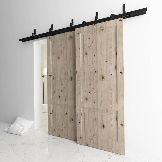 5 16ft bypass doors sliding barn door hardware kit t shape - Exterior sliding door hardware kits ...
