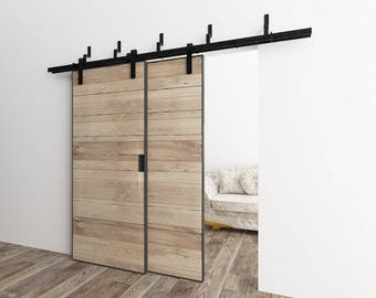 5-16FT Bypass Doors Sliding Barn Door Hardware Kit, Classic Design Z Style Bracket, Perfect for Garage, Closet, Interior and Exterior Use