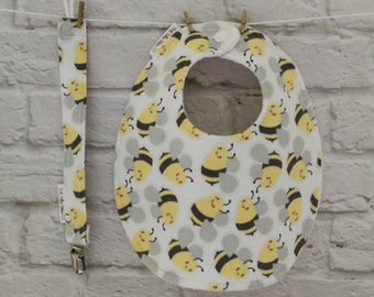 Traditional Round Bib with clip - Bumble Bees