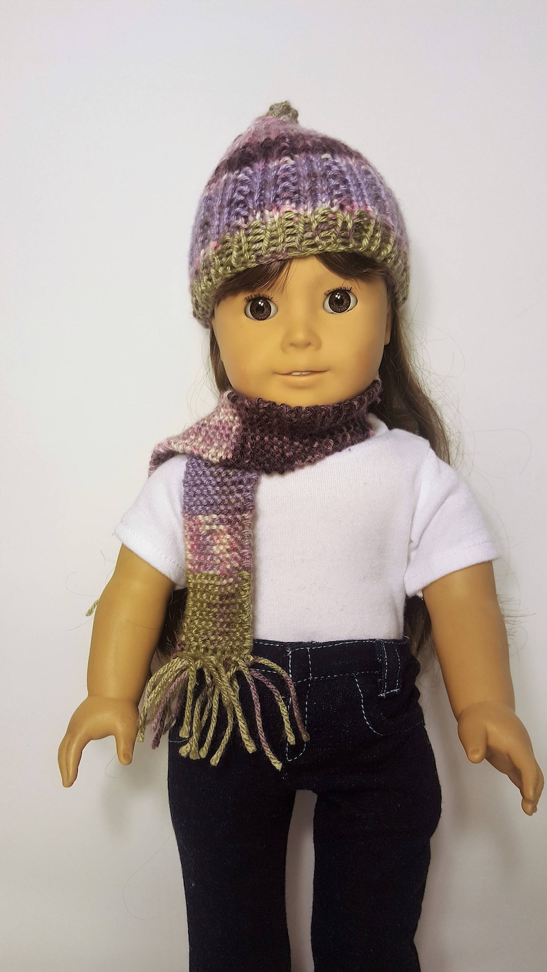 Purple Pink Knit Doll Hat And Scarf Hand Made To Fit Like Etsy