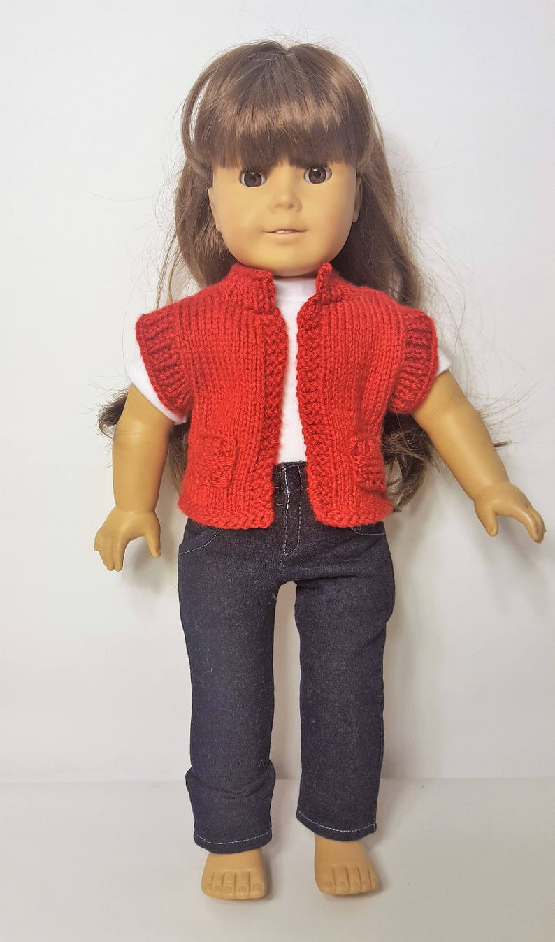 Hand crocheted American Girl Doll Mini Doll Clothes red w//buttons