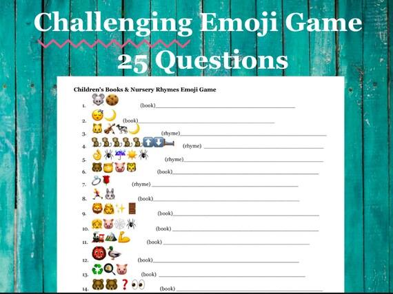 Unique Baby Shower Game - Challenging Children's Book Emoji & Nursery Rhyme Emoji Game w/ 25 questions. INSTANT DOWNLOAD
