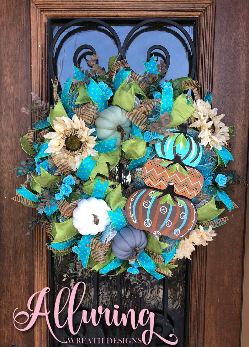 Fall Wreath with Blue Pumpkins image 0
